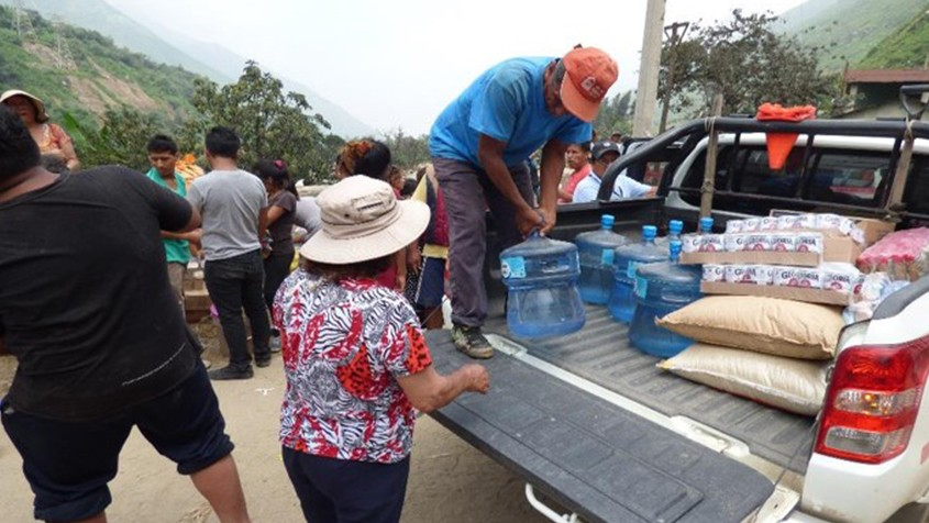 We handed out food and water, essential in emergency situations.