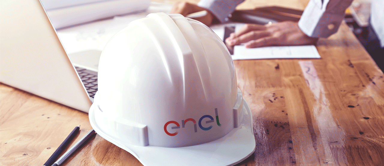 Enel helmet in office